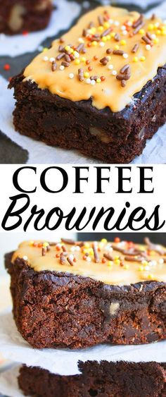 This easy COFFEE BROWNIES recipe is made from scratch. These mocha brownies with coffee glaze are rich and fudgy and loaded with chocolate and brewed coffee. #CoffeeRecipes