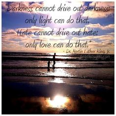 """Darkness cannot drive out darkness; only light can do that.  Hate cannot drive out hate; only love can do that."" - Martin Luther King, Jr. #mlk #quote #love"