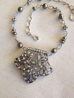 Vintage Gatsby assemblage necklace Dowtown by ChicMaddiesBoutique
