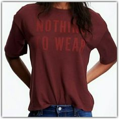 HP  NOTHING TO WEAR  Graphic Tee -Crew Neck. -Short Sleeves. -Text Graphic Across. -Boxy Silhouette. _Sweater Weather 1/3_ Old Navy Tops Tees - Short Sleeve