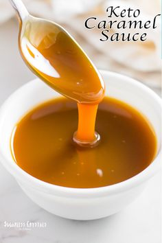 Easy keto caramel sauce recipe made with only 3 ingredients. Sweetened with allulose or xylitol.