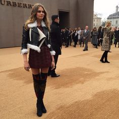 Live on the red carpet - @caradelevingne arrives for the @Burberry show #LFW