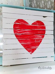How to make a Mini Pallet Valentine Sign | DIY beautify