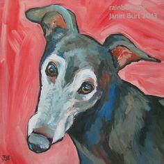 Greyhound acrylic portrait by Janet Burt