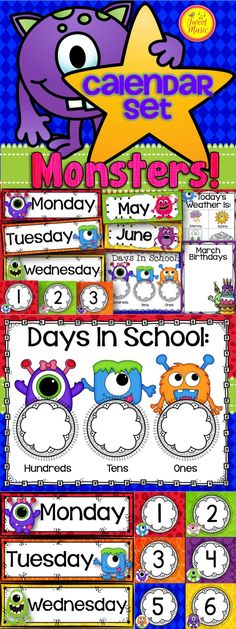 Decorate your classroom this year with this adorable monsters themed calendar set.  The following is included in this package: Days of the Week Cards, Months of the Year Cards, Today is, Tomorrow will be, Yesterday Was and The Month Is cards, Calendar number cards 1-36, Editable number cards, Editable calendar cards, Birthday posters, Weather Clip Chart *Days In School Chart