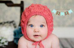 Ruched Bonnet  Newborn/Baby by YarnOverCrochet on Etsy, $26.00