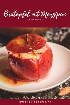 Rezept für einen cremigen Bratapfel mit Marzipan und Manfeln - herrlich in der kalten Jahreszeit! Muffin, Sweets, Desserts, Foodblogger, Post, Breakfast, Winter, Fried Apples, Finger Food