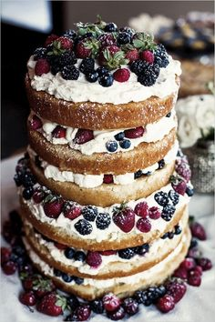 """""""Naked Cake"""" seems to be trending right now. This mixed berry naked cake is full of rustic charm Berry Wedding Cake, Wedding Desserts, Cake Wedding, Naked Wedding Cake With Fruit, Winter Wedding Cakes, Winter Weddings, Christmas Wedding Cakes, Summer Wedding, Wedding Vows"""