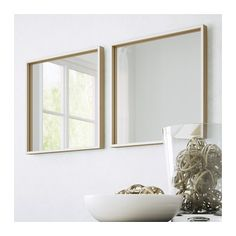 IKEA - SKOGSVÅG, Mirror, , Safety film reduces damage if glass is broken.Suitable for use in most rooms, and tested and approved for bathroom use. Ikea Vanity, Ikea Mirror, Bathroom Mirrors, Ikea Nissedal, Simple Bathroom, Dream Bathrooms, Minimalist Bedroom, New Homes, House Design
