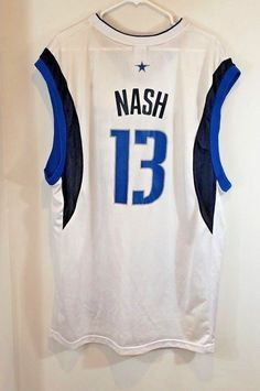 4222eb9b9 NBA Jersey Steve Nash  13 Dallas Mavericks Adult XL White Reebok Sleeveless  Men
