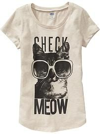 Girls Rounded-Hem Graphic Tees