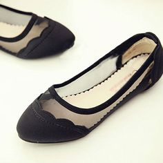 [grzxy61900268]Stitch Splicing Mesh Slip On Flats Loafer Shoes Pumps  | cheershop - Clothing on ArtFire