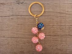 Items similar to Pink and Blue Acrylic Crystal Beads Gold Plated Brass Handmade Keychain on Etsy Crystal Beads, Crystals, Handmade Jewellery, Plating, Jewelry Accessories, Brass, Tutorials, Personalized Items, Gold