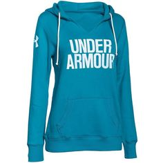 Under Armour Favorite Fleece Hoodie ($55) ❤ liked on Polyvore featuring tops, hoodies, blue, blue hooded sweatshirt, hooded pullover, fleece hoodie, blue top and blue hoodie