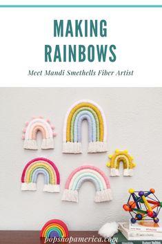 The Rainbow Color Experiment: Meet Mandi Smethells Fiber Artist - gabriella Rainbow Art, Rainbow Colors, Rainbow Story, Vinyl Crafts, Yarn Crafts, Rainbow First Birthday, Rainbow Crochet, Rainbow Decorations, Craft Activities For Kids