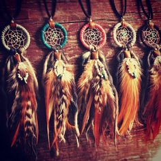 Dreamcatcher necklaces with hackle feather charm:mint,turquoise,salmon pink,light gray and brown.