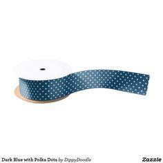 Dark Blue with Polka Dots Satin Ribbon