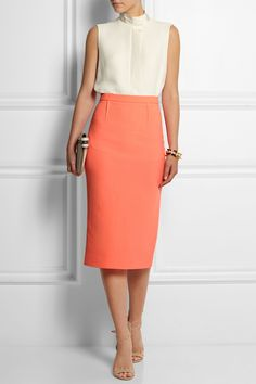 Roland Mouret|Arreton wool-crepe midi skirt|NET-A-PORTER.COM