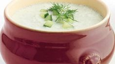 Cool off with a bowl of creamy cucumber soup!  Enjoy fresh cucumbers in a cool new way, served blended with green onions, yogurt and a hint of dill. 4 servings (about 1 cup each)