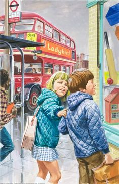Bus - Peter And Jane, Things We Like.  The old Routemaster London bus.  And the kids wearing quilted anoraks.  I had a new anorak every year from Romford market.