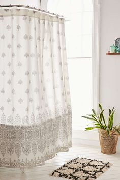 Shop Plum & Bow Bessum Stamped Shower Curtain at Urban Outfitters today. Decor, Boho Curtains, Bathroom Shower Curtains, Rustic Storage, Curtains, Designer Shower Curtains, Rustic Bathroom Shelves, Bathroom Decor, Shower Curtain