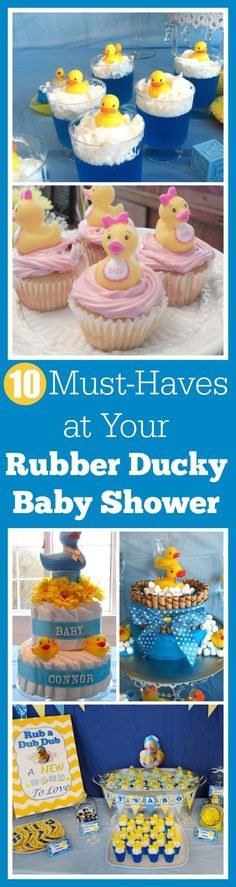 10 Must-Haves at Your Rubber Ducky Baby Shower, including ideas for cakes, party favors, decorations, and treats! See more baby shower party ideas and free baby shower printables at . Ducky Baby Showers, Rubber Ducky Baby Shower, Baby Shower Duck, Baby Shower Signs, Baby Shower Gender Reveal, Baby Boy Shower, Baby Shower Cupcakes, Shower Cakes, Baby Shower Favors