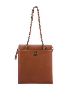 f957c4a8a76d Cognac leather Chanel tote with antique gold-tone hardware