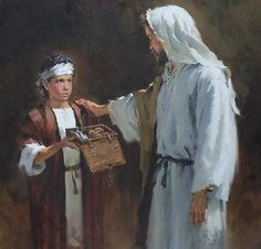 Boy offers his small lunch to Jesus. Luke 9:16