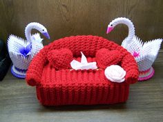 Red Couch Crochet Tissue Box Cover With Pillows