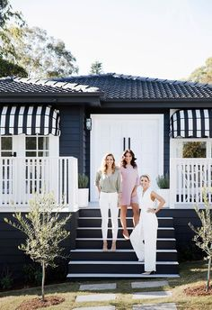 The renovation included a dramatic update of the home's exterior which features white highlights against a dark background. Here, Erin Cayless, Bonnie Hindmarsh and Lana Taylor welcome us inside the home. Samba, Three Birds Renovations, Home Remodeling Contractors, Dark House, White Highlights, Queenslander, Exterior Makeover, Exterior House Colors, Exterior Homes