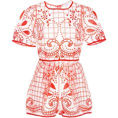 Alice McCall Space is the Only Noise Lace Playsuit ($157) ❤ liked on Polyvore featuring jumpsuits, rompers, dresses, playsuits, romper, lace jumpsuits, lace rompers, pink jumpsuit, short sleeve jumpsuit and floral romper