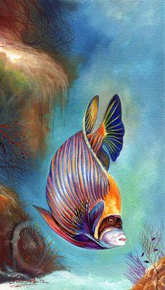 Naushad Waheed Art Print featuring the painting Emperor Angel Fish by Naushad Waheed # Pets desenho Emperor Angel Fish Art Print by Naushad Waheed Sea Life Art, Sea Art, Underwater Painting, Watercolor Fish, Fish Drawings, Pet Fish, Desenho Tattoo, Angel Fish, Tropical Art
