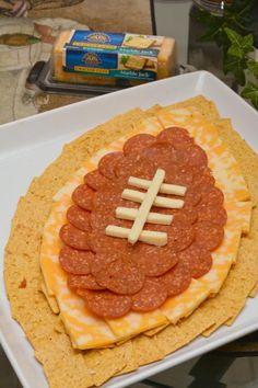 Life With 4 Boys: Cheese and Cracker Football Centerpiece #Recipe #CrystalFarmsCheese