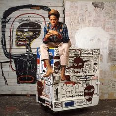07/14/2012 - BASQUIAT IS COMING / Photo: Lizzie Himmel - The artist in his studio in New York, 1985 / Soon in Art Democracy /  Jean Michel Basquiat defined a new genre of art and expression.Warhol admired Basquiat for his ability to paint the grime and grit of New York city street culture. Basquiat admired Warhol for his ability to make him famous. Basquiat became a member of Warhol's entourage in the early 80's