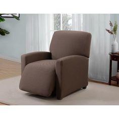 Red Barrel Studio Box Cushion Recliner Slipcover Upholstery: Brown