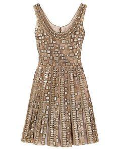 Embroidered tulle dress, Oscar de la Renta.