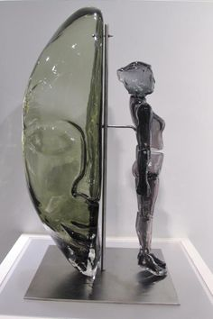 'Synchronicity' , made by: Simon Maberley - Blown  cold worked glass, stainless steel, 63 x 30cm