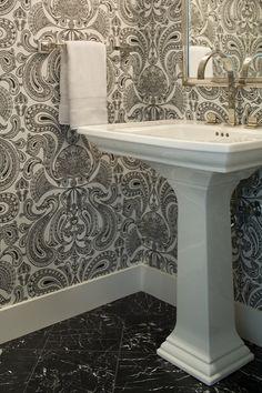 Shirley Parks Design - bathrooms - Powder Room, Bathroom, Wallpaper, Black, White, damask wallpaper, black and white damask wallpaper, powder room wallapper,