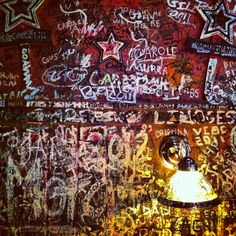 Wall at Gino's East in Chicago. And as a dumb freshman I wrote dumb words on those walls