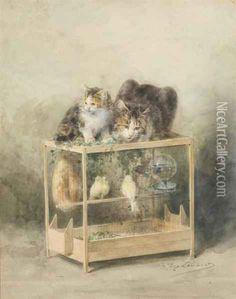 La Cage Des Canaris Guettee Par Les Chats ~*~ Louis Eugene Lambert