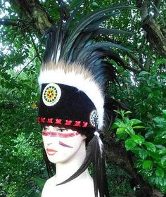 Handmade Hat Feather Headband Rainbow Special Warbonnet Costume Indian Headdress