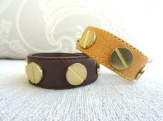 Studded leatherette bracelet brown yellow green by Handemadeit, $14.90