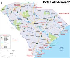 South Carolina map showing the major travel attractions including cities, points of interest, and more.