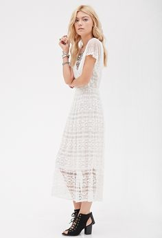 Crochet Lace Midi Dress | FOREVER21 - 2000116901