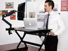 This is one of the most elegant ways we've seen to turn a regular desk into a standing desk
