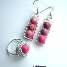 Parure boucles d'oreille et bague avec agate sédiment rose