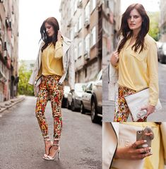 Bb Dakota Jacket, Sheinside Blouse, Black Five Floral Pants, Mango Sandals, Zara Clutch, Persunmall Iphone Case
