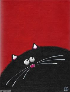 """Acrylic Fine Art Painting on Canvas Fat Cat series whimsical black kitty 9x7"""""""
