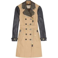 Burberry Brit Leather Sleeve Spiked Collar Trench Coat ($2,056) ❤ liked on Polyvore featuring outerwear, coats, jackets, burberry, leather trench coat, buckle coats, lapel coats, beige coat and pleated trench coat