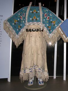 Yankton Dakota (Sioux) two-hide pattern dress with fully beaded yoke.